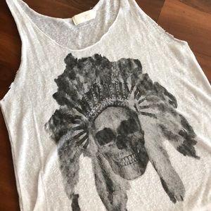 Urban Outfitters Tops - Raw hem white skull tank
